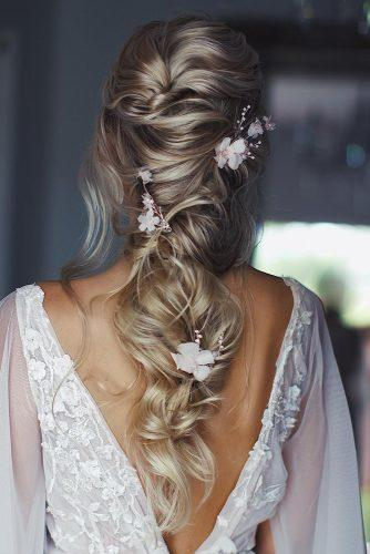 summer wedding hairstyles cascading half up half down on blonde hair with white flowers ulyana.aster