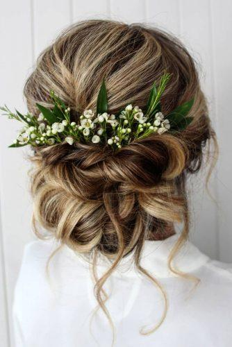 summer wedding hairstyles elegant swept updo with loose curls and white flowers greenery theupdogirl
