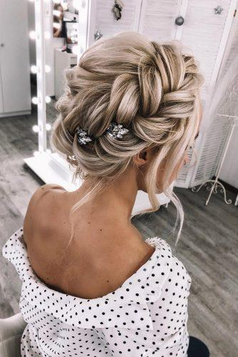 summer wedding hairstyles volume braided crown on blonde hair weddstasyuk