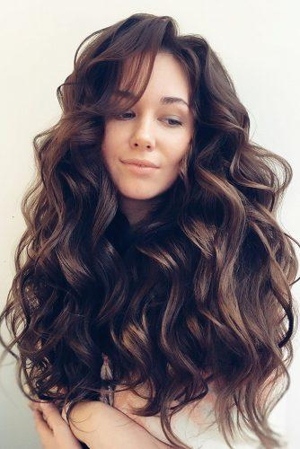 summer wedding hairstyles volume curls on long brown hair olesya_zemskova