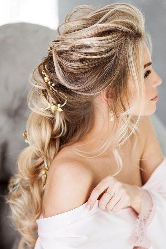 swept back wedding hairstyles elegant half up half down with gold accessorie elstilespb