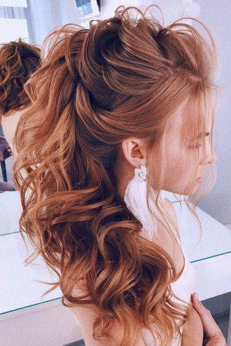 swept back wedding hairstyles half up half down on curly long red hair side lavishpro