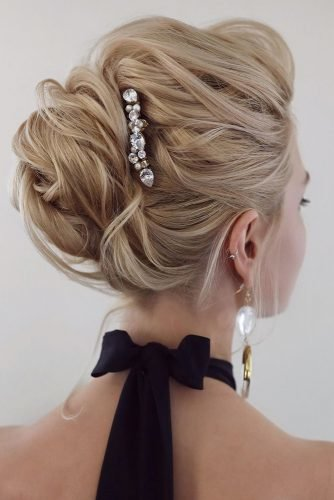 swept back wedding hairstyles high textured blonde updo with crystal pin tonyastylist