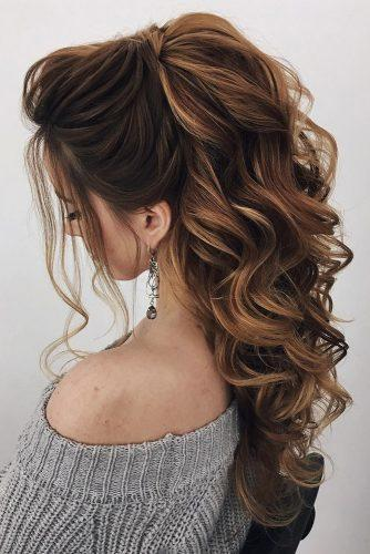 swept back wedding hairstyles long curls down half up and loose curls oksana_sergeeva_stilist