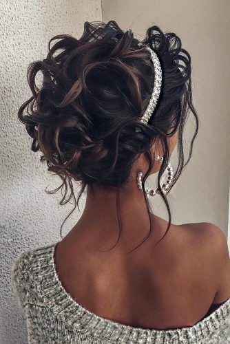 swept back wedding hairstyles simple updo with loose curls and silver hair band alena_famina