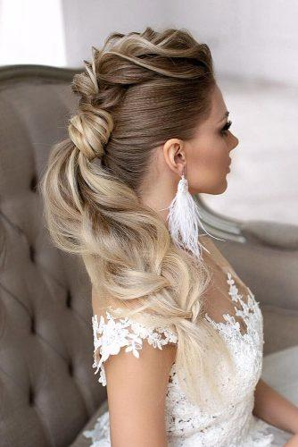 swept back wedding hairstyles textured ponytail on long blonde hair lavishpro
