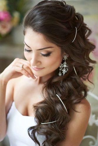 swept back wedding hairstyles with long curly hair on one side svadby na kipre