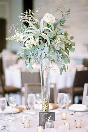 tall wedding centerpieces glass vase with greenery and succulents tamara gruner photography