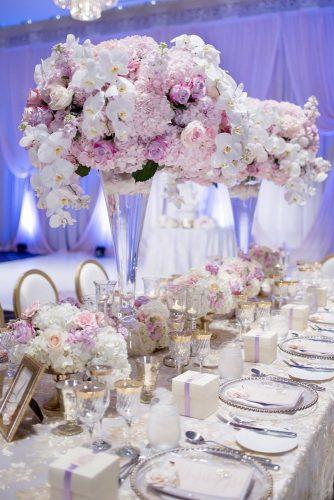 tall wedding centerpieces glass vase with white and pink flowers orchids roses hongphotography