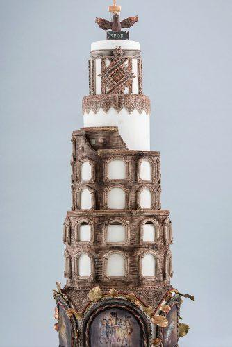 unique wedding cakes tall white with roman architecture finecakesbyzehraofficial