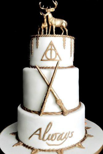 unique wedding cakes white and gold harry potter styled dessert fallonraecakes