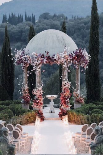 wedding altar decoration high gazebo of stone with flowers andrew bayda via instagram