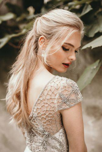 wedding hair and makeup half up half down blonde hair and classic gold eyeshadows and red lips benjaminwheeler