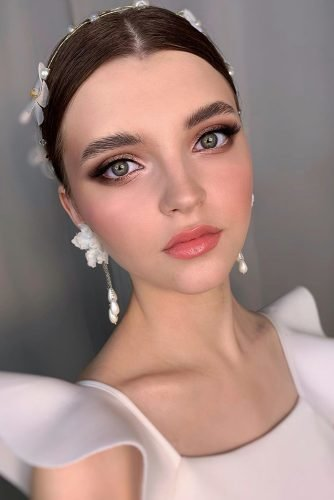 wedding makeup for brunettes elegant shimmer with long lashes and soft coral lips grishina.viktoria