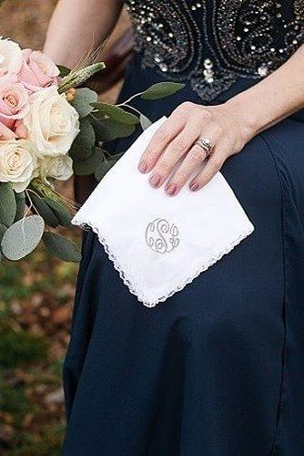 wedding monogram handkerchief with monogram