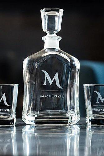 wedding monogram monogrammed whiskey set