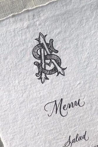 wedding monogram wedding menu calligraphy