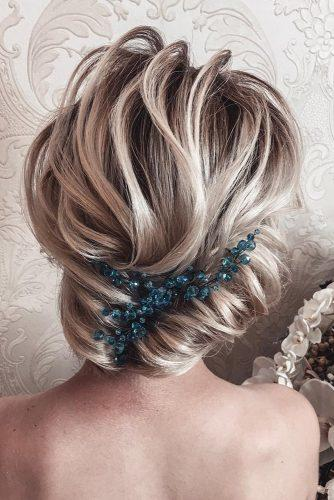 wedding updos for short hair creative french roll on soft curls elvigamz