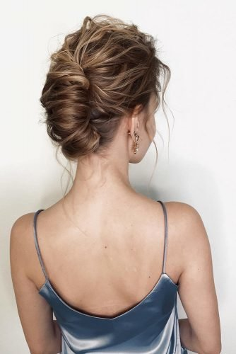 wedding updos for short hair disheveled french roll short hair wedding updo sasha_esenina