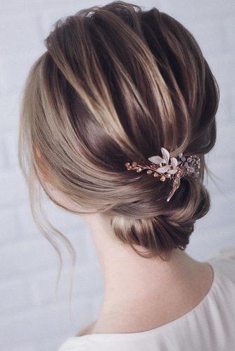 wedding updos for short hair elegant low bun with hairpin lenabogucharskaya