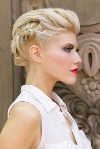 wedding updos for short hair formal faux hawk for short blonde bridal hair with braids ericcarterhair via facebook