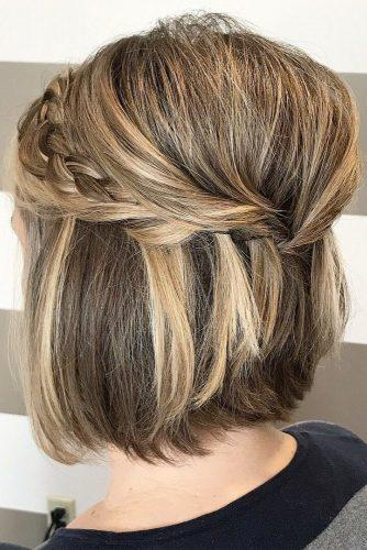 wedding updos for short hair half up half down volume with braid imanisalonannville via instagram