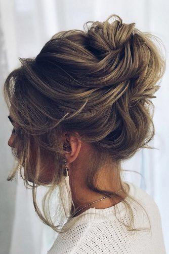 wedding updos for short hair light brown with high swept bun dianovaelstile