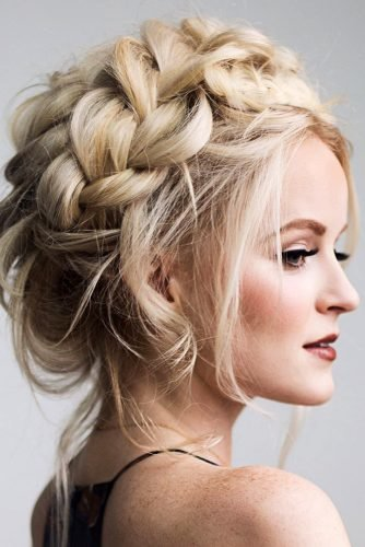 wedding updos for short hair queen dutch braid crown on blonde hairandmakeupbysteph
