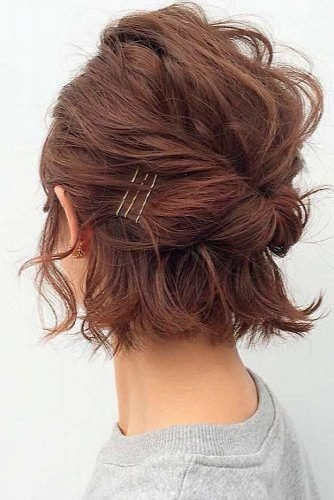 wedding updos for short hair short hairstyle with statement bobby pins ryohei_katayama