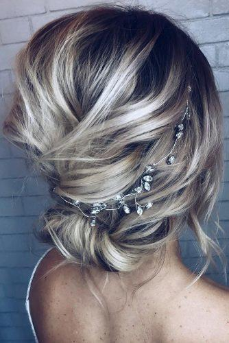 wedding updos for short hair slightly messy low bun with gentle halo ashandcobridalhair