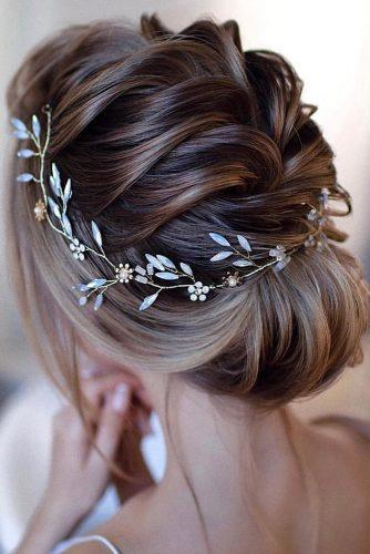 wedding updos for short hair unique updo with braided textured and bridal halo accessorie weddingforward