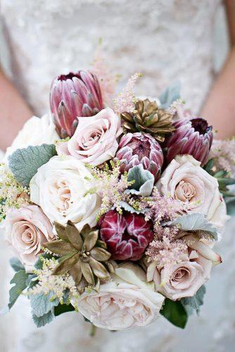 winter wedding bouquets brush with roses succulents and grey leaves mindyandphil