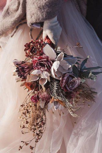 winter wedding bouquets cascading small blush with dry flowers and brunches alisonconklin