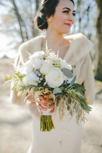 winter wedding bouquets elegant with white flowers and greenery teale photography