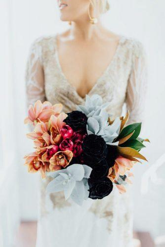 winter wedding bouquets modern bouquet peach grey and dark colors james simmons photography