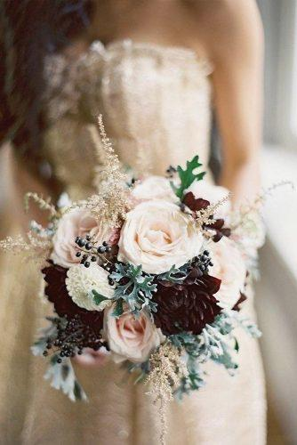winter wedding bouquets with burgundy dahlias and brush roses edward osborn photography