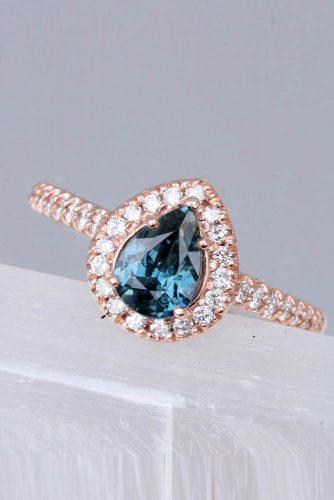 Precision cut sapphires and gemstones by Rogerio Graca Peacock Sapphire Rose Gold Halo Ring