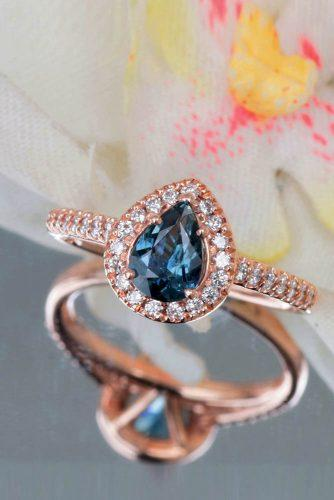 Precision cut sapphires and gemstones by Rogerio Graca Pear Shape Blue Green Sapphire Rose Gold Halo Ring