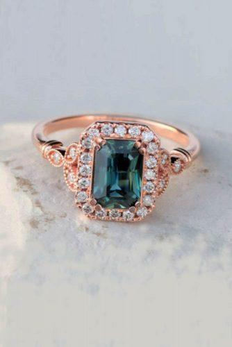 Precision cut sapphires and gemstones by Rogerio Graca Radiant Cut Teal Green Sapphire Art Deco Ring