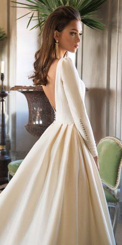 a line modern simple low back long sleeves milla nova wedding dresses josephine