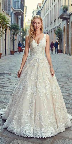 a line wedding dresses lace v neckline sleeveless eddy k
