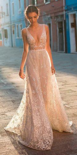 beach wedding dresses straight blush lace deep v neckline with straps gali karten