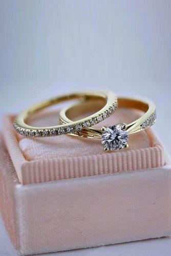 best brilliance engagement rings gold wedding set pave band round cut