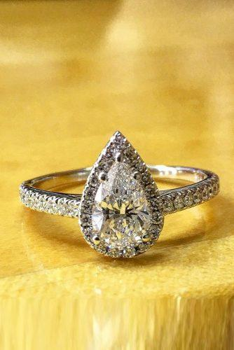 best brilliance engagement rings pear cut diamond halo pave band
