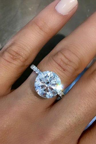 best brilliance engagement rings round cut diamond pave band solitaire