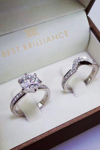 best brilliance engagement rings wedding set modern round cut pave band