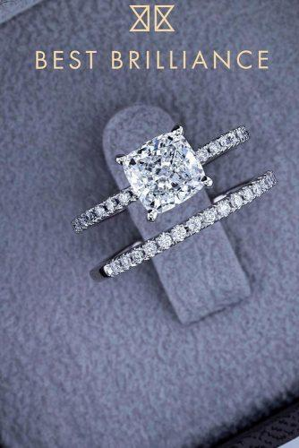 best brilliance engagement rings wedding set pave band cushion cut diamond