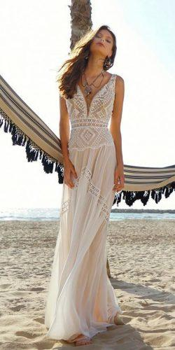 boho beach wedding dresses straight lace v neckline with straps rish bridal