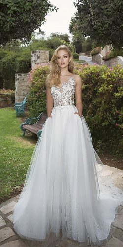dany mizrachi wedding dresses a line bateau neckline lace sleeveless