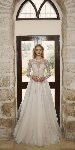 dany mizrachi wedding dresses a line illusion neckline with long sleeves